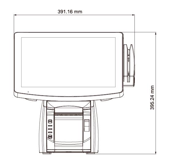 HOREPOS TP-650 vista frontal con dimensiones