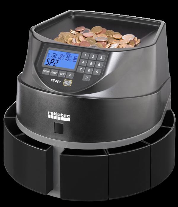 Contadoras de monedas Radiotec CS250 vista lateral