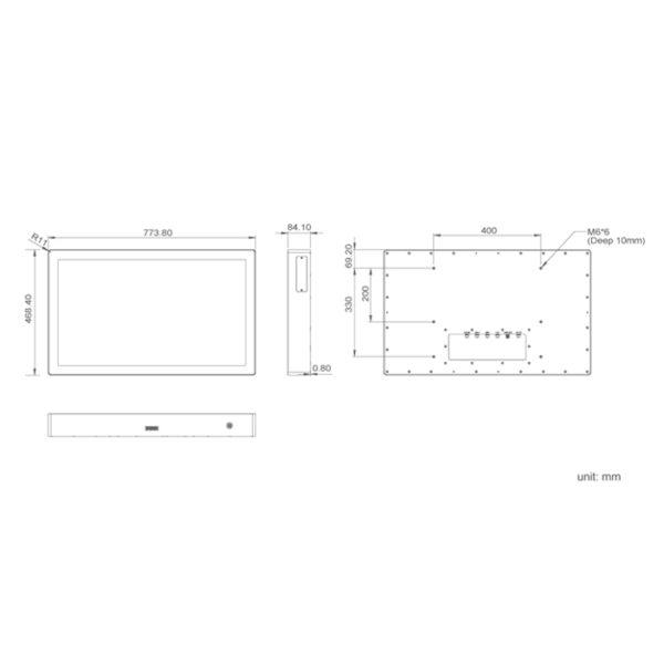 Monitor de cocina KS-1330 dimensiones